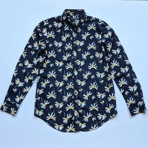 Navy and yellow daisy print button up blouse